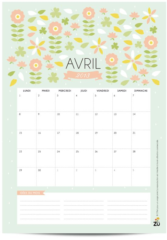 Calendrier AVRIL - free printable