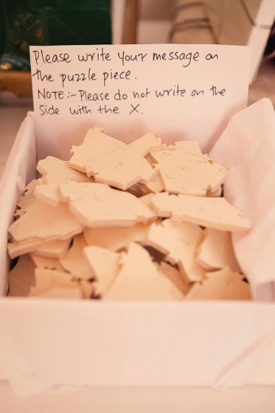 Such a cute idea! Ask your guests to each write a note on a piece of a puzzle for you to construct later on.