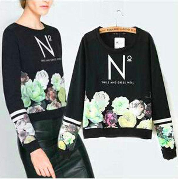 Flower Print Sweatshirt – Maries Boutique