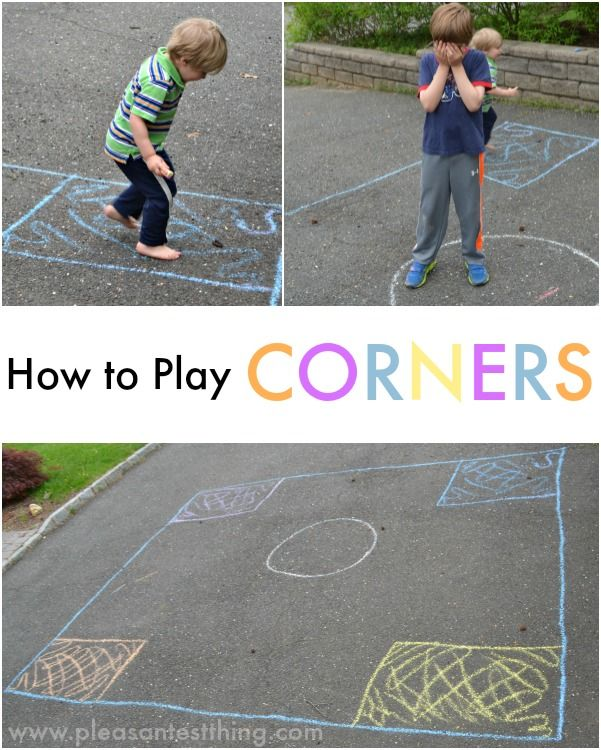 Corners; a fun game to get moving, and you can adapt it to practice almost anything colors, numbers, shapes, letters, sight words; basically anything you can think of! How To Play Corners Get 3 or more people. Create your rectangle