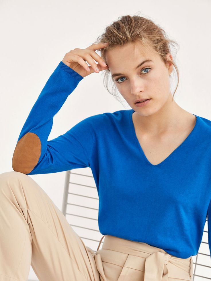 Autumn Spring summer 2017 Women´s KNIT SWEATER WITH ELBOW PATCHES at Massimo Dutti for $65.50