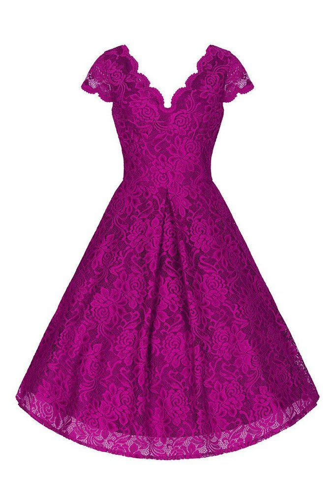 Magenta Purple Embroidered Lace V Neck Capped Sleeve 50s Swing Dress