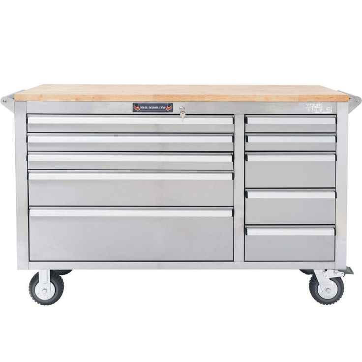 YourTools 56 in. 10-Drawer Tool Chest with Wooden Counter Top, Stainless Steel, Silver