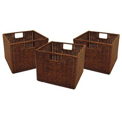 Winsome Wood Small Wired Rattan Baskets, Set Of Use Alone Or With Winsome  Woods Espresso Storage Shelves. Baskets, Set Of Small Wired Rattan, ...