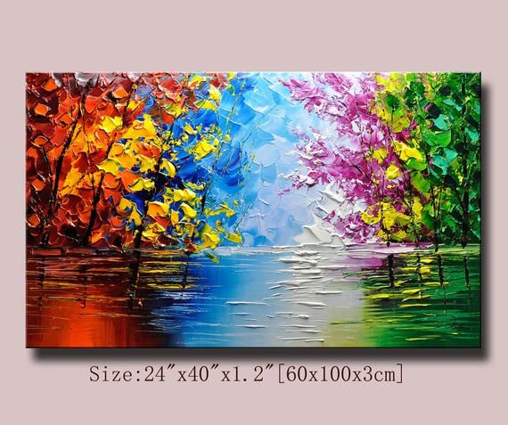 contemporary wall art,Palette Knife Painting,colorful Landscape painting,wall decor,Home Decor,Acrylic Textured Painting ON Canvas Chen a06