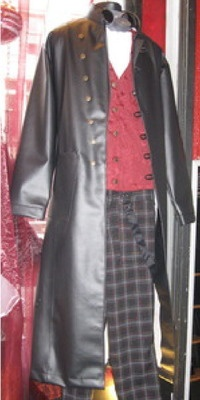 Post Apocalyptic Steampunk featuring VM Military Frock Coat - Black Veggie PVC Long