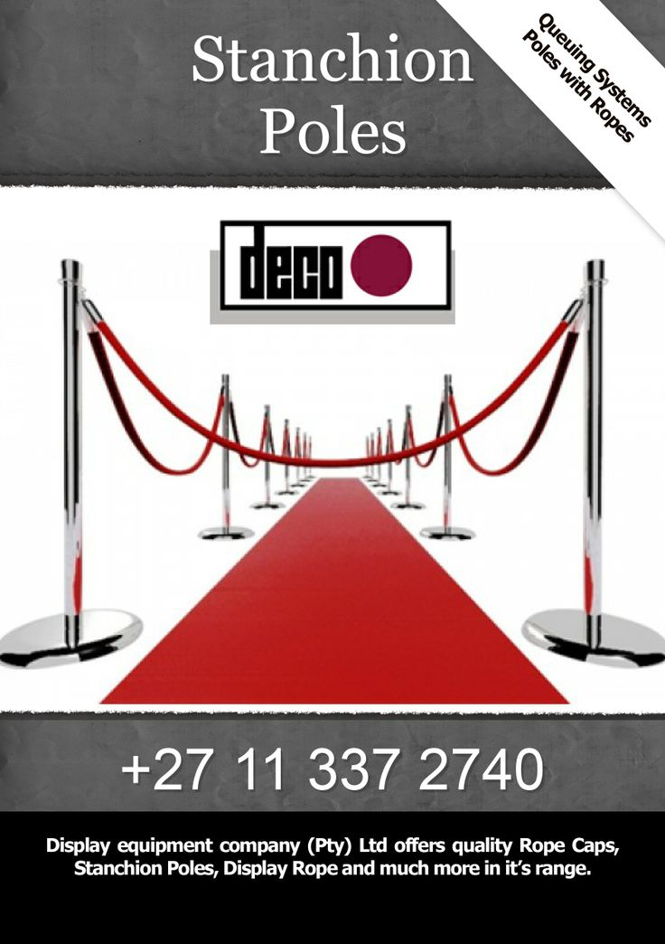 Display equipment company (Pty) Ltd offers quality Rope Caps, Stanchion Poles, Display Rope and much more in it's range.