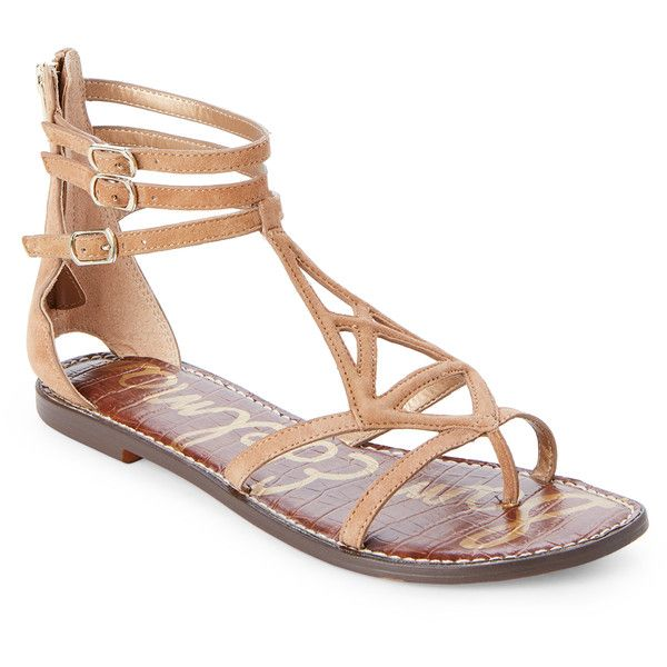 Sam Edelman Gold Caramel Goldie Flat Gladiator Sandals (5735 RSD) ❤ liked on Polyvore featuring shoes, sandals, metallic, gold metallic sandals, sam edelman sandals, strap sandals, strappy flat sandals and strappy sandals