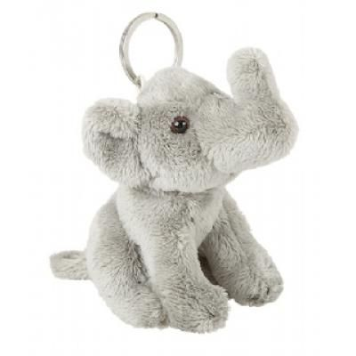 Image of Branded Fur Elephant Keyring. Cute 10 cm Elephant Key Ring.