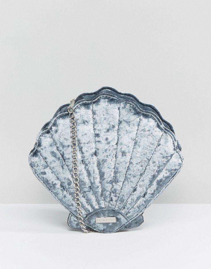 Crushed Velvet Shell Cross Body Bag