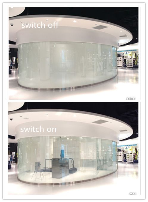 Intelligent smart glass,switchable glass,magic glass,electric privacy glass,switchable privacy glass for showroom,curved smart glass .  When ON/Clear, When OFF/Opaque. Smart glass can be from opaque to clear by a simple flick of a switch with less than 1 second,also can be remote control by wireless.  Yantai Rushui Optoelectronics Technology Co.,Ltd.  If interested, please email me at: ytrushui@gmail.com