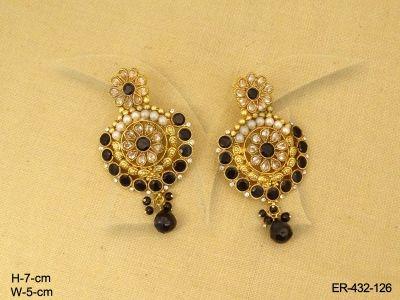 ER-432-126 | FLOWER BROAD DESIGNER ANTIQUE EARRINGS