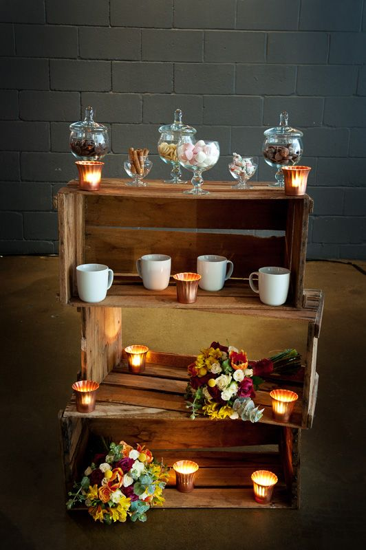 #Rustic hot #chocolate station at your wedding? Yes please!  #Industrial #wedding shoot styled by Fashionable Society Events and photographed by Nicole Barralet Photography. #Wood #stationery by Cartamodello Papeterie | Celebrant Samantha Townend Civil Marriage Celebrant | Hair and makeup by Blissful Makeup | Flowers by Once Upon a Petal | Arbour by Adorn Event Hire | Cakes by Gillian Bell cake | Venue Lightspace Brisbane | Models Pru and Jason | First seen in Brisbane Wedding Weekly