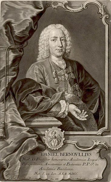 Daniel Bernoulli (1700~1782) was a Swiss physician, doctor and mathematician. He is most prominent for his applications of mathematics to mechanics, particularly fluid mechanics, and for his exceptional work in probability and statistics. Bernoulli's theorem is the foundation of many engineering applications, such as aircraft wing design.