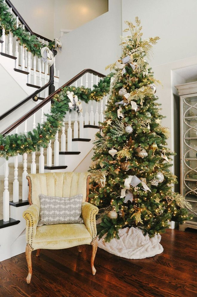 green gold and white christmas decorating