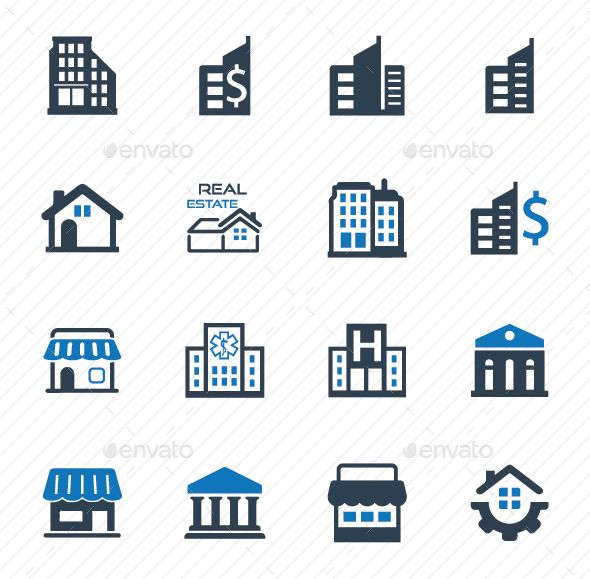 Building And Construction Icons Blue Version Icon Business