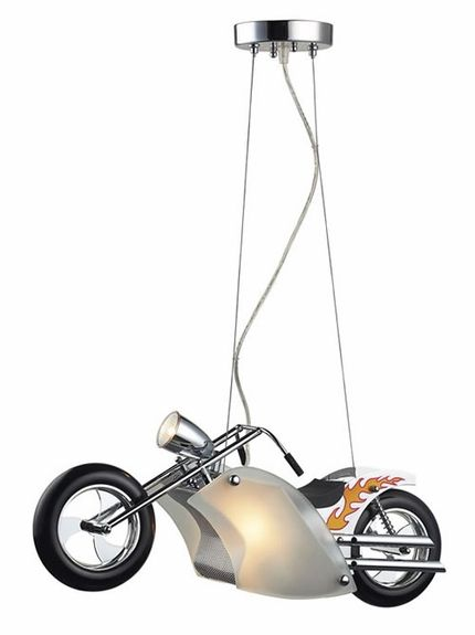 SUPER FUN Light for a kids room! Motorcycle Pendant in Satin Nickel from RosenberryRooms.com
