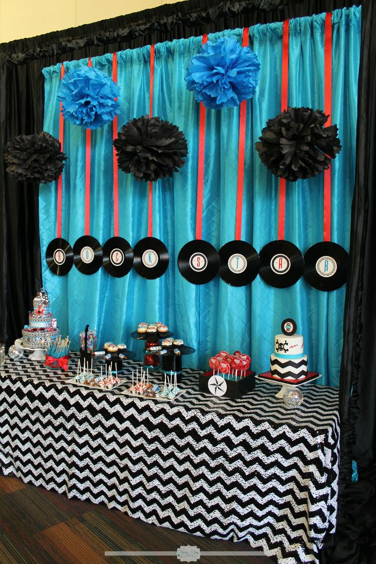 Rockstar Baby Shower, boy Baby shower, Rock Star Baby shower, Blue and Black party, rock star party ideas, rock star party decor, rock star dessert bar.Rock Star Dessert Bar.