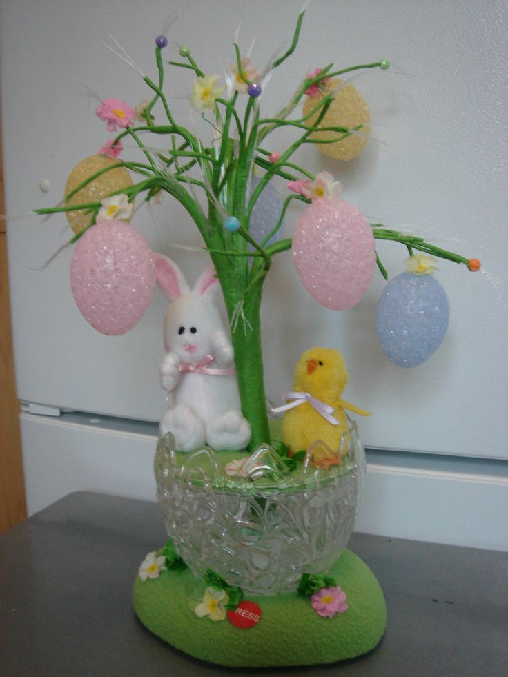 Sd Music Fiber Optic Easter Tree Bunny Rabbit Chick Egg Avon Home Decor 585