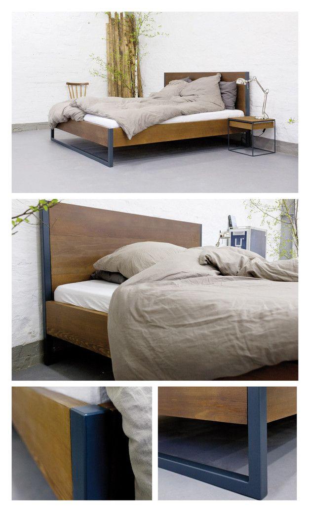 Betten Loft Vintage Industrial Bett 160x200 Holz Stahl Ein Designerstuck Von N51e12 Bei Dawanda Schlafzimmer Inspirationen Bett 160x200 Rauminspiration