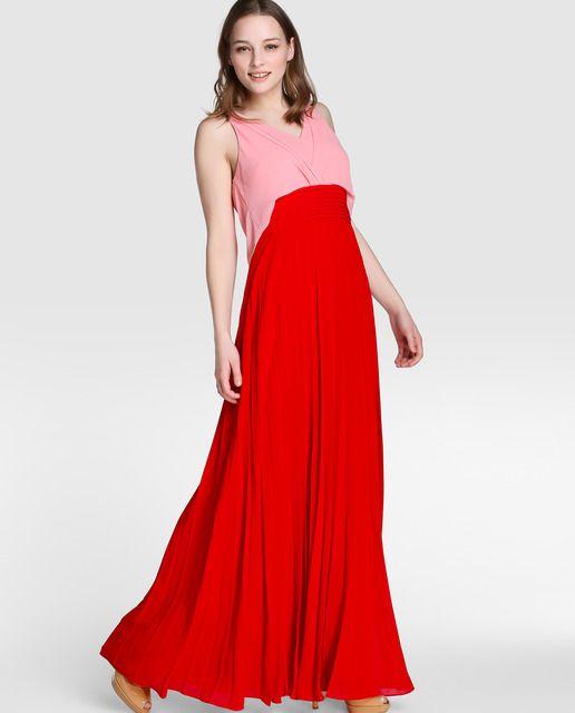 Vestido bicolor de fiesta de mujer Tintoretto con falda plisada