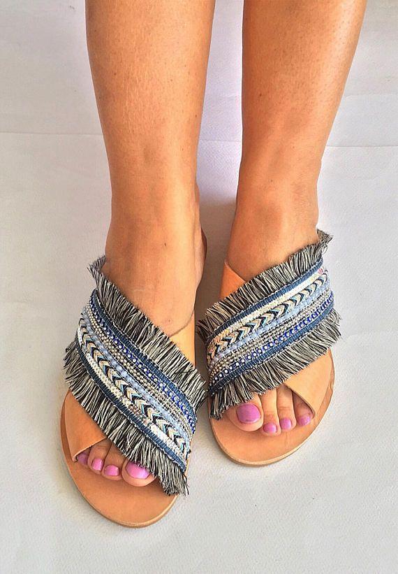 X-Strap Leather Sandals Moonlight  Greek by BohemianFootprints