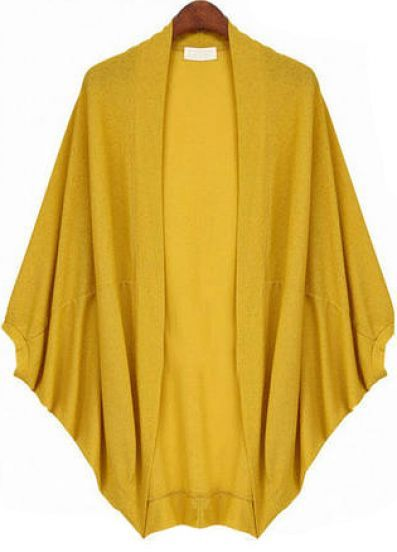 Yellow Batwing Sleeve Oversize Loose Cardigan: