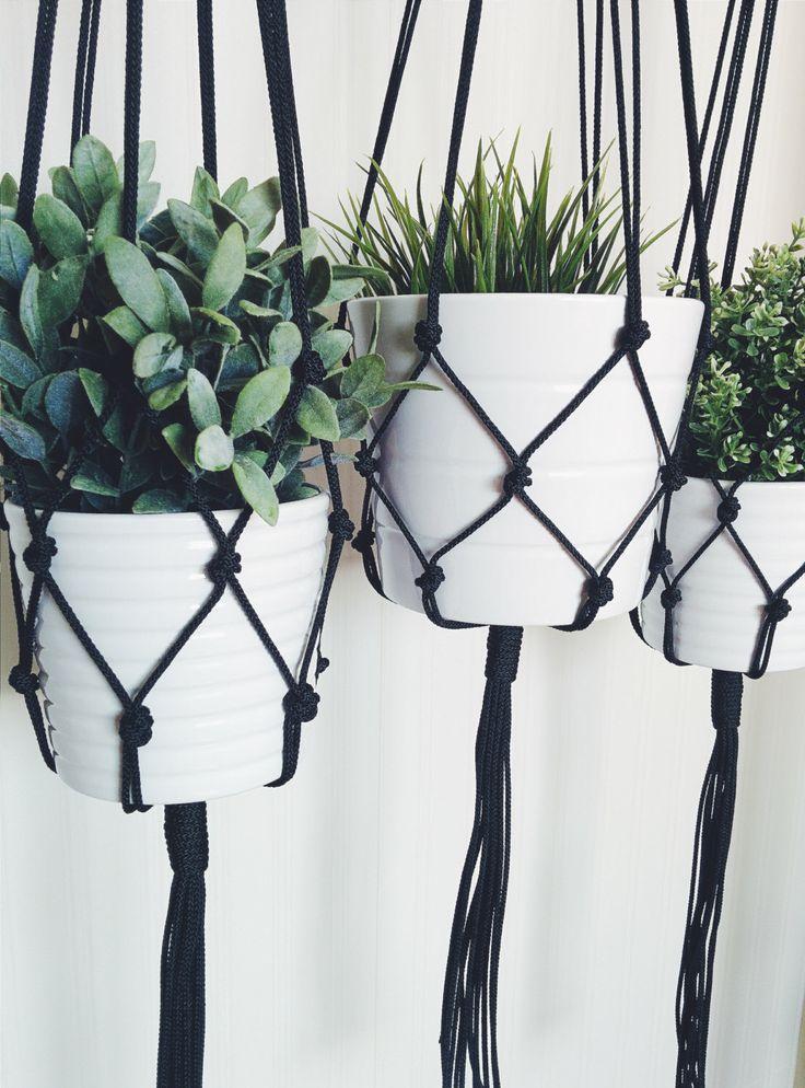 Macrame Plant Hanger - Black Plant Hanger - Hanging Planter - Indoor/Outdoor Plant Hanger