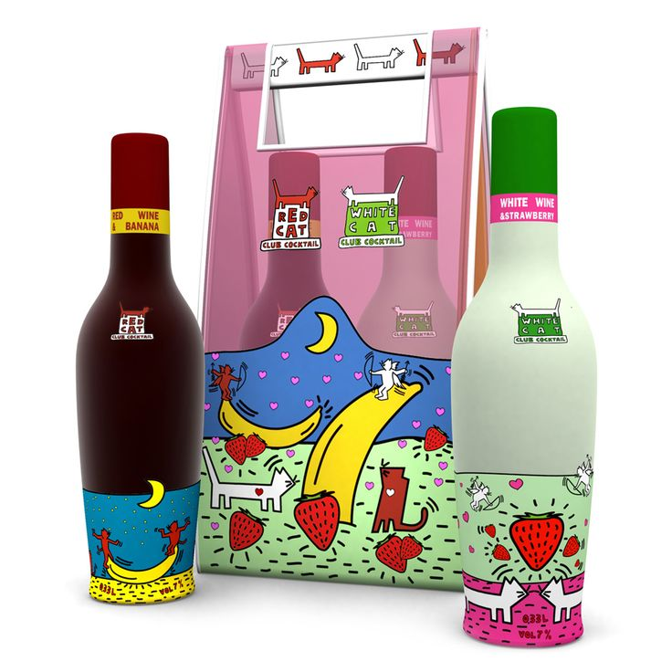 Red cat & White cat cocktails #packaging #popart #illustration #keithharing #brandwaystudio