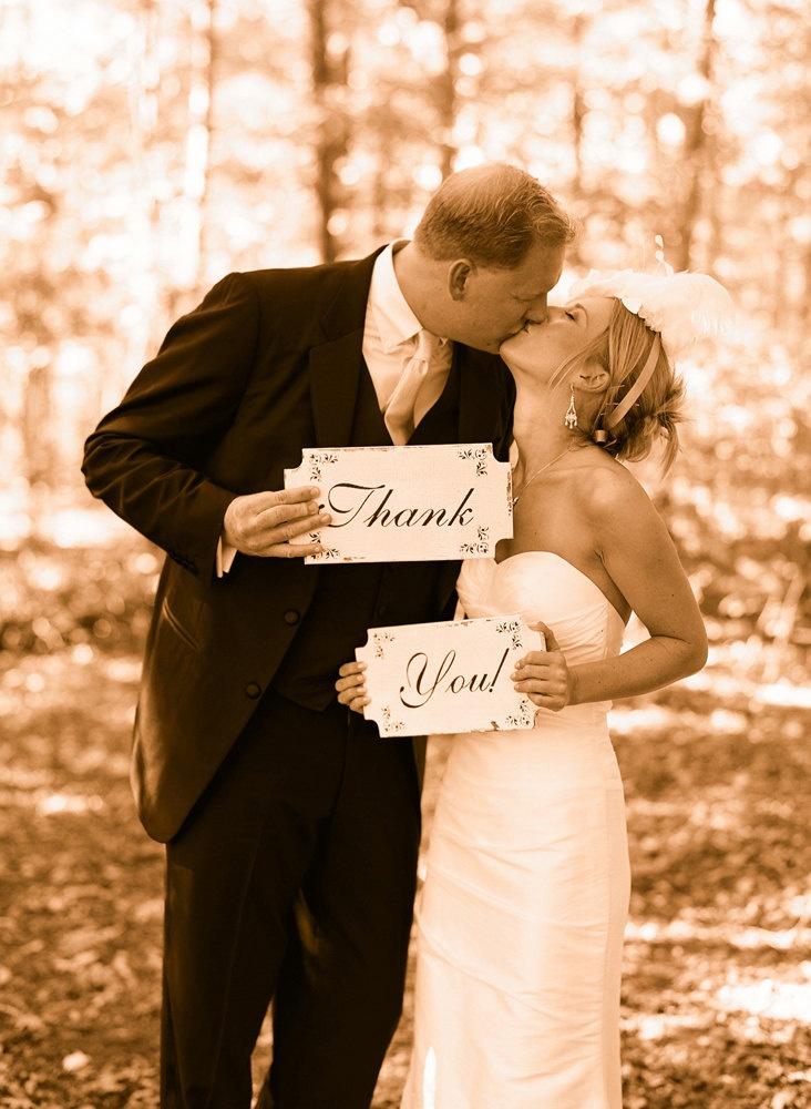 THANK YOU Wedding Signs Wedding Decorationd 12x6 Set of 2. $29.95, via Etsy.