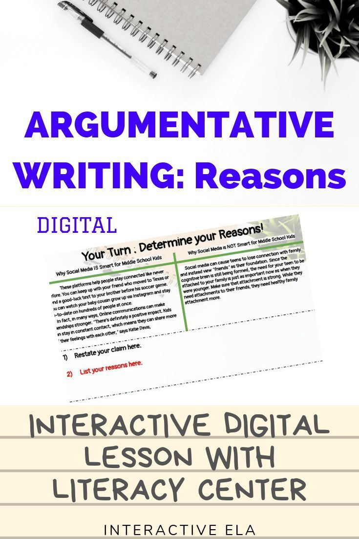 Argumentative Writing Supporting Claims With Reasons Argumentative Writing Writing Instruction Writing
