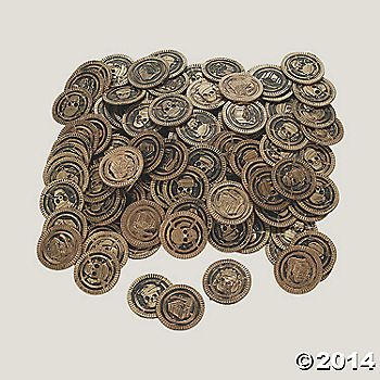 Pirate Coins - make them into bracelets for the girls and keychains or necklaces for the guys?