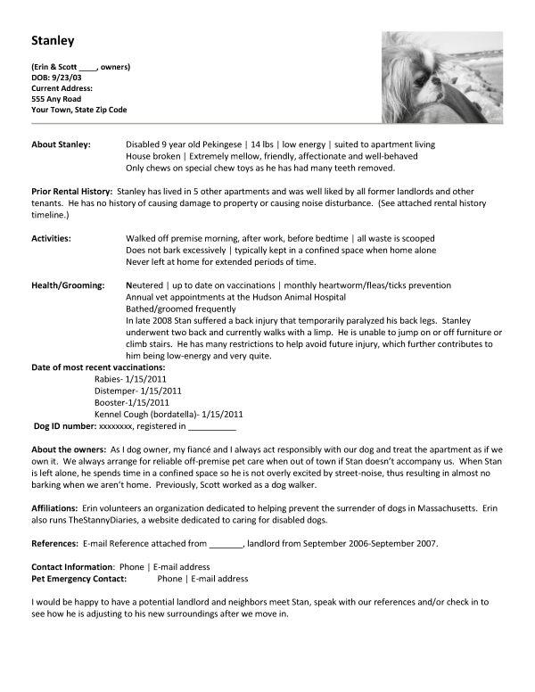 apartment renting create a pet resume cute little. Black Bedroom Furniture Sets. Home Design Ideas