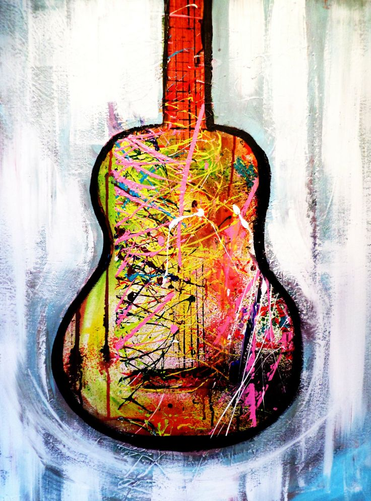 FREE SHIPMENT Guitar painting Original Acrylic by CrazyMo ...