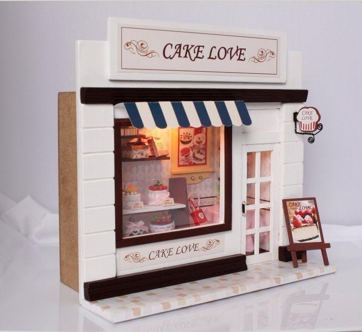 Casa de muñecas en miniatura hágalo usted mismo Kit Pastel Amor Panadería Pan Tienda Tienda Modelo C / Luz in Muñecas y osos, Miniaturas para casas de muñeca, Casas de muñeca | eBay