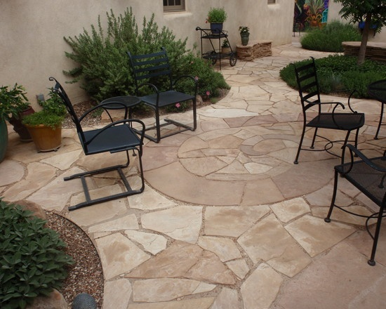 Spiral flagstone patio-Waterwise Landscapes