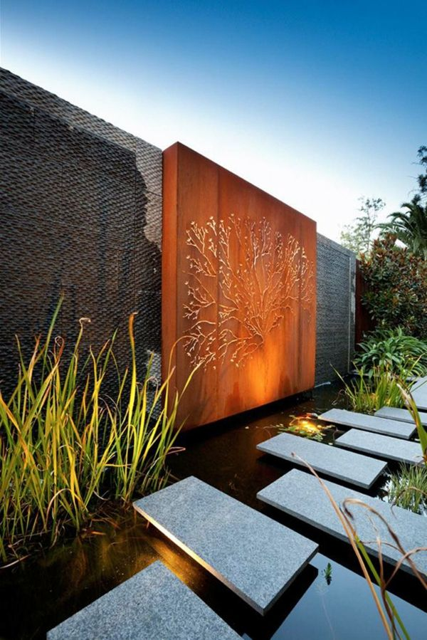 Idee Deco Jardin Metal Rouille Mur Decoratif Acier Corten Jardin