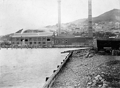 Wellington City Corporation Destructor from Clyde Quay. 1890.  Source: Wellington City Council Archives. Refer to our Terms and Conditions for conditions of use.  Terms & Conditions