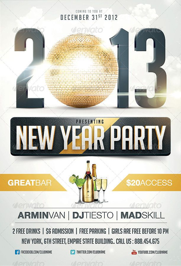 Create invitation card for you night club Christmas & New year party with these flyer templates  http://www.frip.in/best-new-year-christmas-flyer-templates-of-2013/#