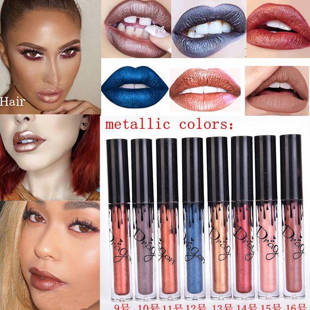 Hot Cosmetica Metallic Perlees Lipstick 16 Kleuren Beauty Batom Lips Gloss Matte Lipstick Metals Vloeibare Lippen Lot Maquiagem