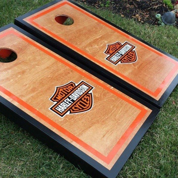 harley davidson custom cornhole board set from great lakes cornhole for on square market - Custom Corn Hole Boards