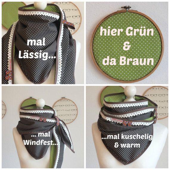 Dreieckstuch XXL Wendetuch braun grün Dreiecktuch Punkte Polka dots auf Etsy, 34,00 €