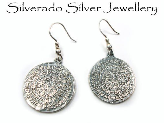 Greek Earrings, Sterling Silver 925  Minoan Phaistos Disc Earrings 24mm, Greek Jewelry, Griechisches Ohrringe Schmuck, Bijoux Grec Argent on Etsy, 49,00 €