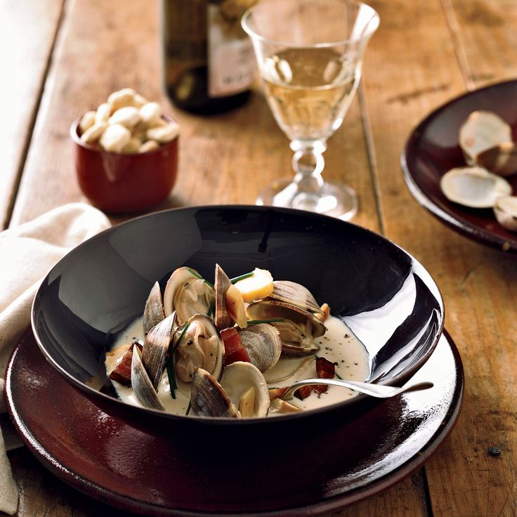 Viognier-Steamed Clams with Bacon and Parsnips | Food & Wine