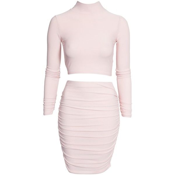 Nly Trend Slinky Turtle Neck Set ($59) ❤ liked on Polyvore featuring dresses, nude, party dresses, womens-fashion, turtle neck dress, tall dresses, pink long sleeve dress, long sleeve turtleneck dress and pink collar dress