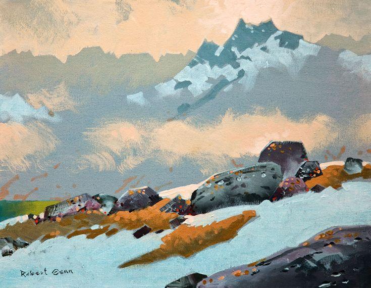 """""""High Passage Above Cobalt Lake, Bugaboos 2012,"""" by Robert Genn 14 x 18 - acrylic $4600 Unframed"""