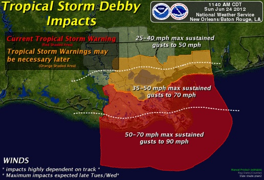 Look out for Debby here she comes...