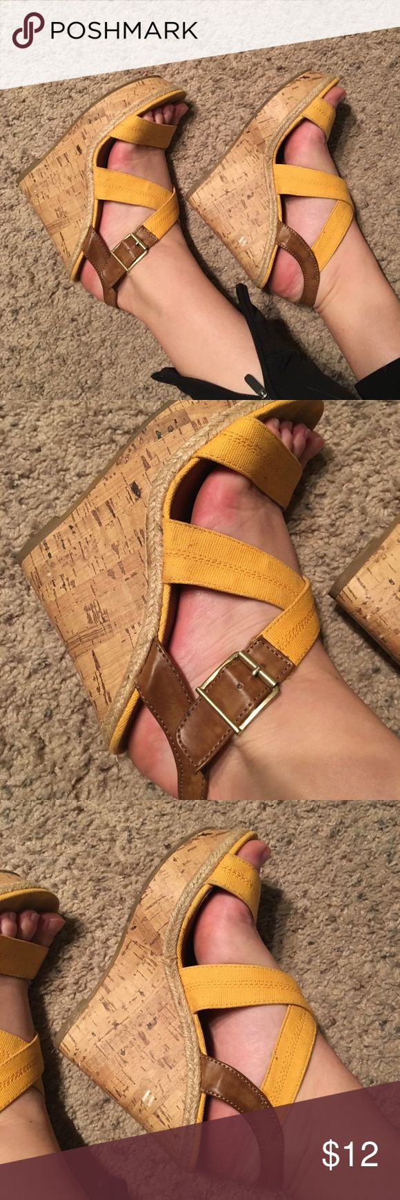 ☀️ Yellow & Leather Cork Wedges Bundle & I'll send you a private discount ASAP! 😘Beautiful yellow wedges - buckle straps are adjustable for feet as shown - normal foot stain on bottom from wear (price reflective of that) 😘 - so comfortable! - previously loved Nordstrom Shoes Wedges