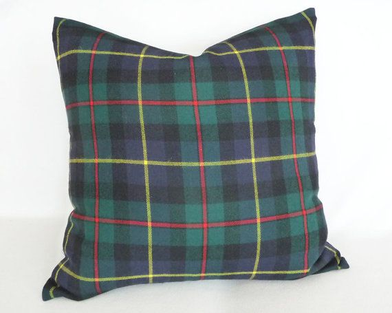 Blue Green Tartan Plaid Throw Pillow CUSTOM by PillowThrowDecor