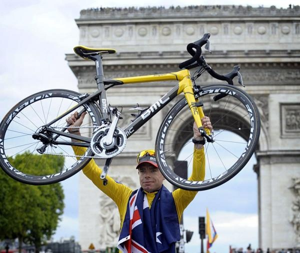 2011 Tour de France winner Cadel Evans and his BMC bike